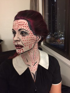 Pop Art Face Painting Woman Side View