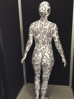 Silver Snake Body Painted Back View