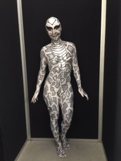 Silver Snake Body Painted Front View
